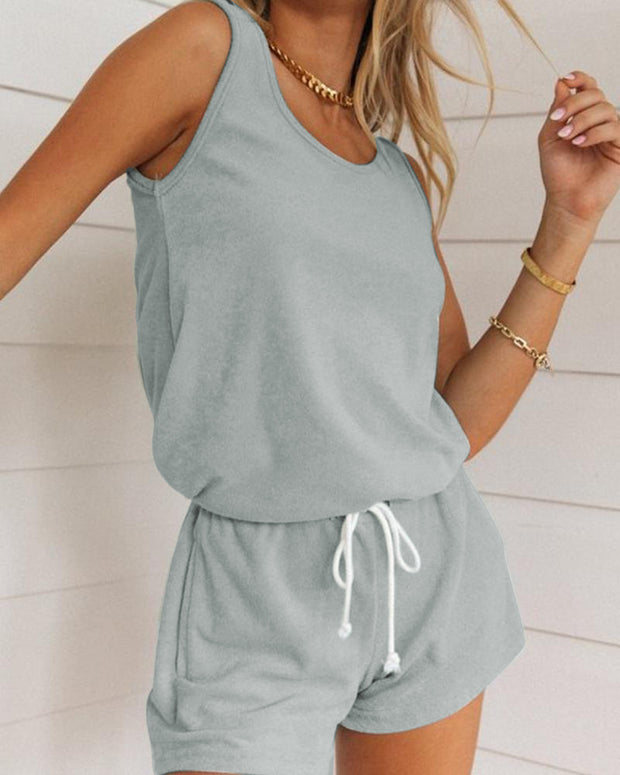 Solid Tank Top & Shorts Lounge Set
