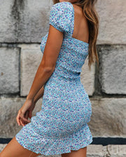 Floral Tie Front Cut Out Dress
