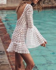 Bell Sleeve Lace Mini Dress