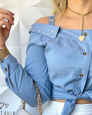 Cold Shoulder Beaded Knotted Detail Blouse