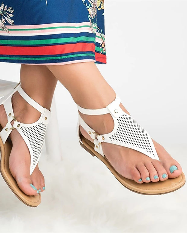 Toe Post Hollow Out Flat Sandals