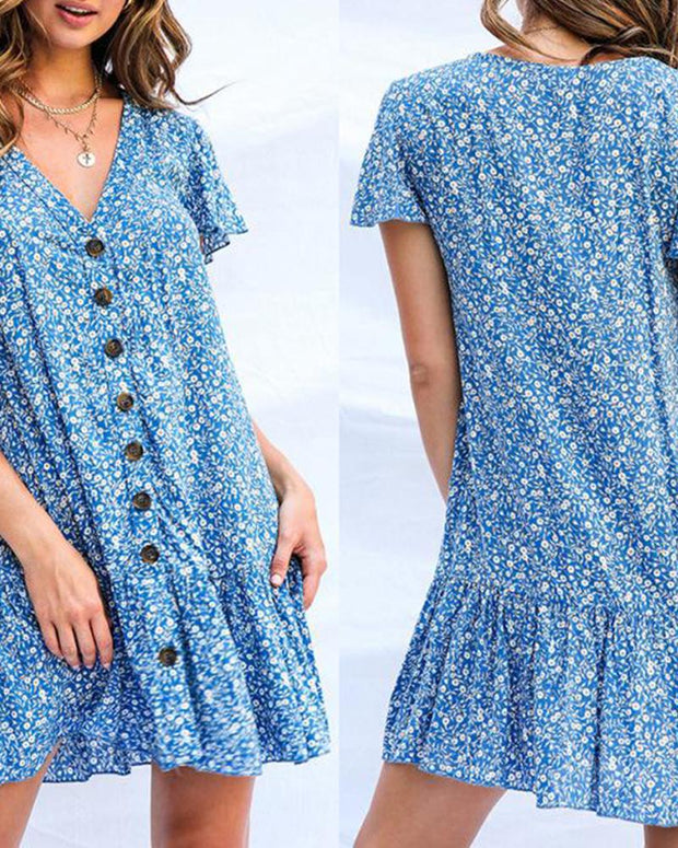 Polka Dot V Neck Button Loosen Mini Dress Shirt Dress