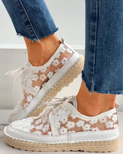 Floral Pattern Woven Flax Lace-up Sneakers
