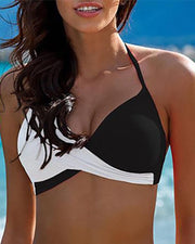 Halter Two Tone Colorblock Bikini Set