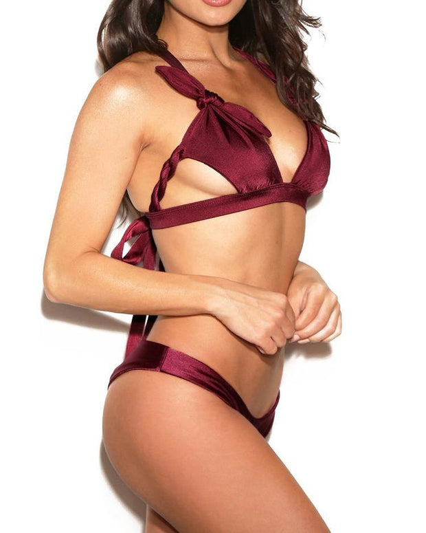 Braided Knot Ruched Cut Out Bikini