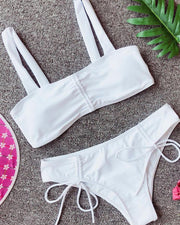 Thin Strap Drawstring Design Bikini Sets