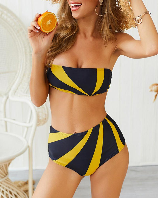 Colorblock Insert Tube Bikini Set