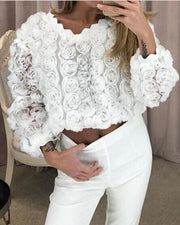 Round Neck Fringe Scalloped Mesh Top