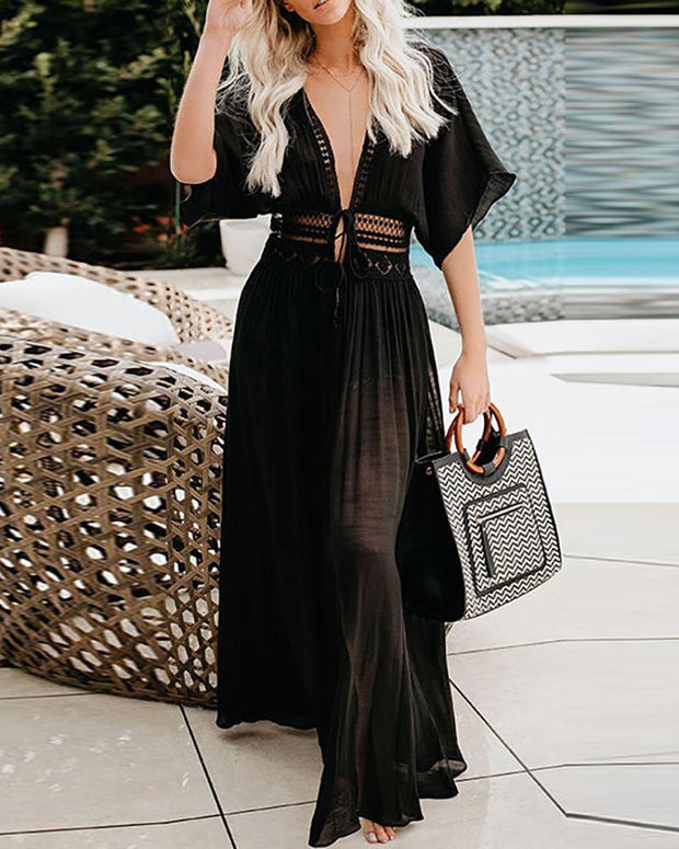 Solid Cover Up Maxi Dress