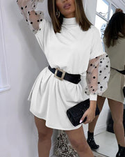 Mesh Insert Sleeve Mini Dress