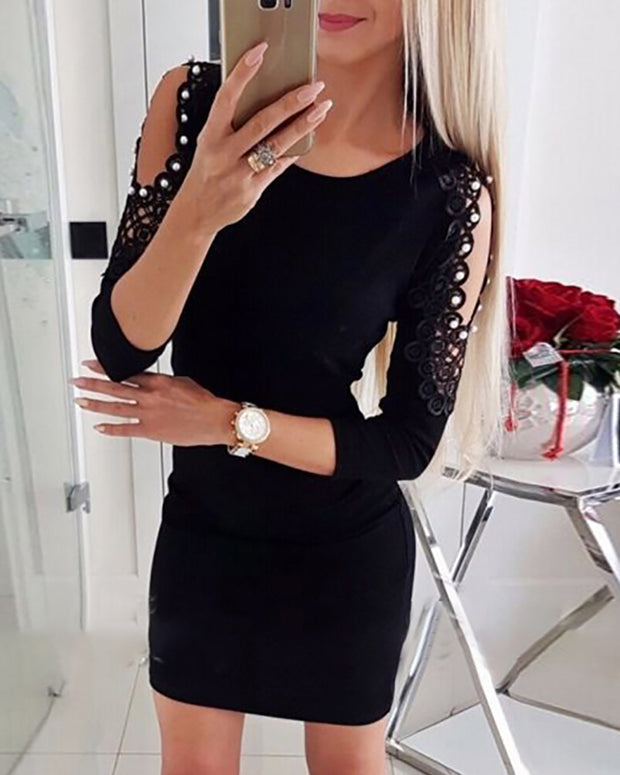 Beaded Cold Shoulder Lace Mini Dress