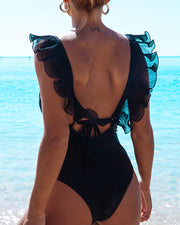 Solid Color Sling One Piece Swimwear