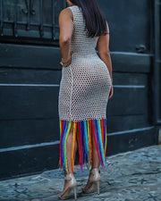 Hollow Out Fishnet Colorful Tassel Dress Cover Up