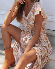Floral Ruffle Hem Maxi Dress