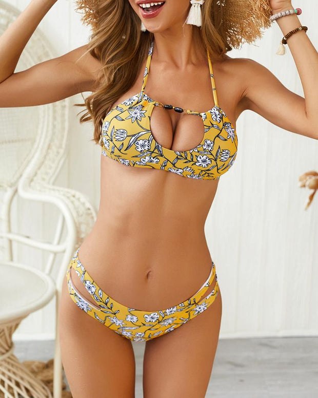 Halter Tropical Print Cutout Bikini Set