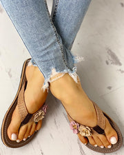 Toe Post Flower Design Flat Sandals