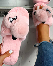 Fluffy Pom Pom Bowknot Embellished Open Toe Flat Slippers
