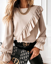 Long Poet Sleeve Ruffles Loose Blouse