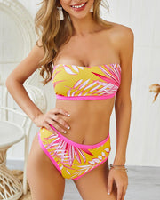 Leaf Print Tube Bikini Set