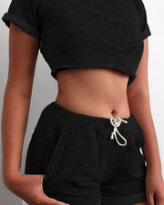 Workout Crop Top & Shorts Set