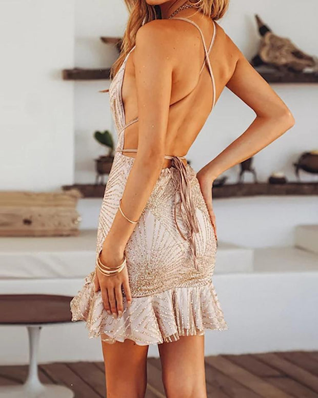 Glitter Ruffles Design Open Back Party Dress