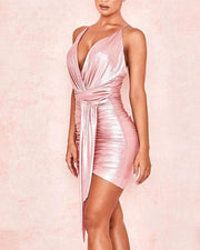 Metallic Mini Dress With Waist Knot