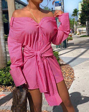 Solid Color Knotted Shirt Dress