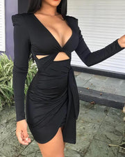 Plunge Twisted Cutout Front Party Dress