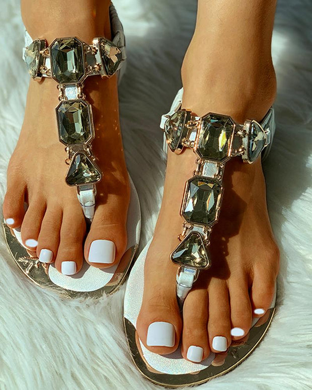 Studded Toe Ring Flat Sandals