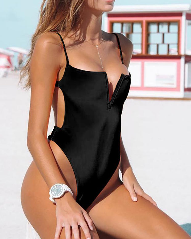 Spaghetti Strap Solid One Piece Swimwear