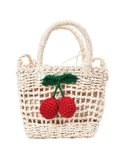 Fruit Pattern Woven Straw Bag