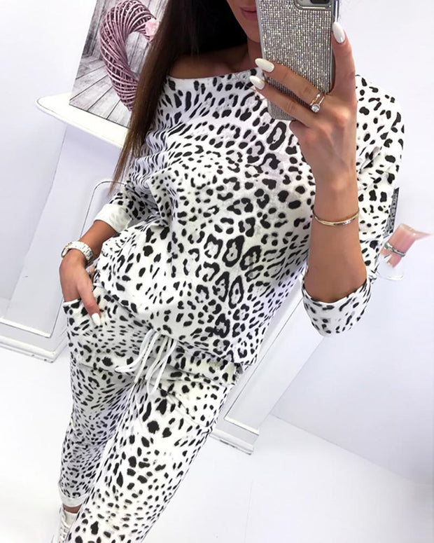 Long Sleeve Camo Drawstring Pajamas Set