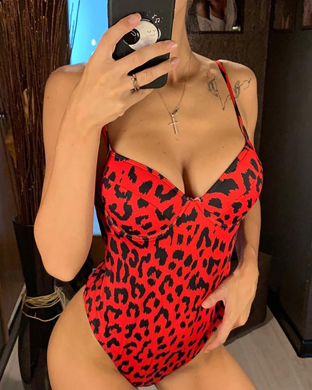 Leopard Print  Backless One Piece Swimsuit