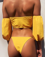 Off Shoulder Frill Hem Tankini Set