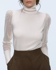 High Neck Long Sleeve Lace Insert Blouse