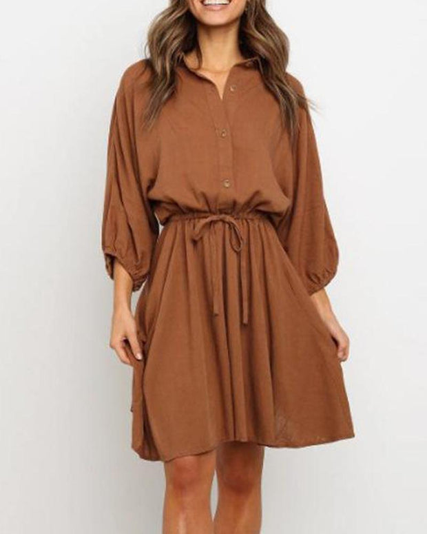Solid Tie Waist Shirt Dress