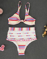 Striped Pom Pom High Waist Bikini Set