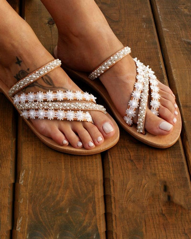 Bohemian Pearl Embellished Slide Sandals