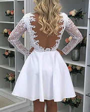 O Neck Long Sleeve Perspective Open Back Dress