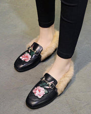 Faux Fur Slip On Embroidered Shoes