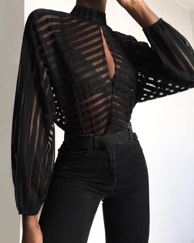 Stripes Keyhole Front Mesh Blouse
