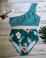 Floral Striped Print Ruffles Tankini Set