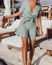Hot wave polka dot ruffled printed bohemian holiday short sleeve dress