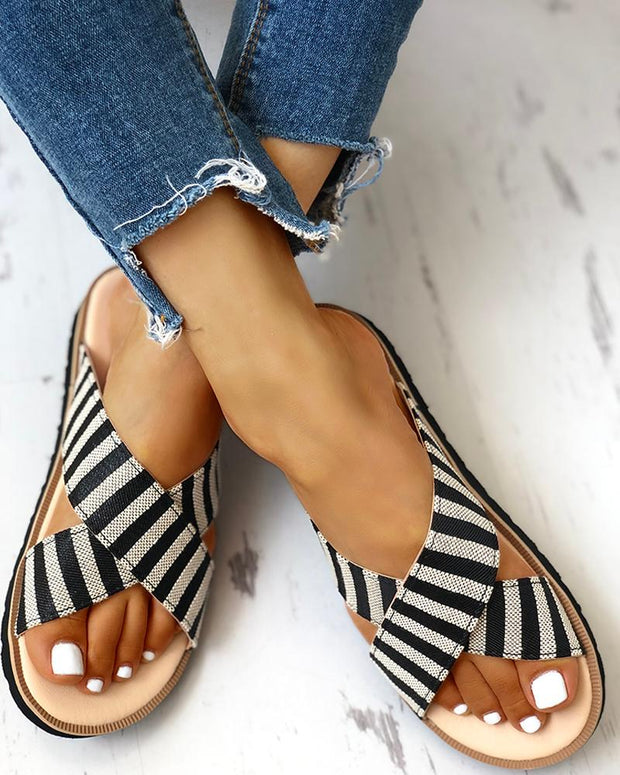 Crisscross Design Striped Flat Sandals