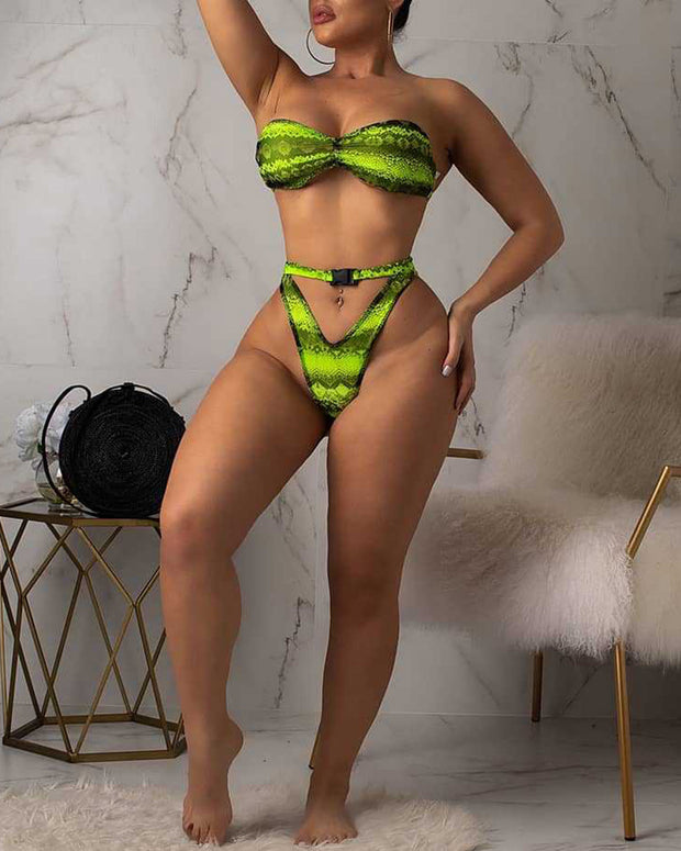 3PCS Snakeskin Print Bikini Sets With Top