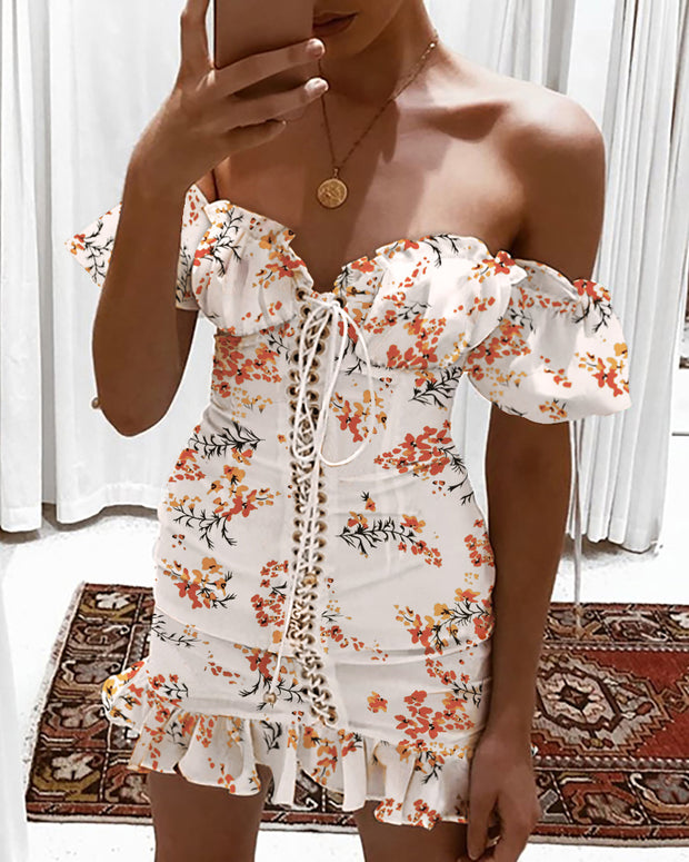 Floral Print Off Shoulder Eyelet Lace-up Ruffles Dress