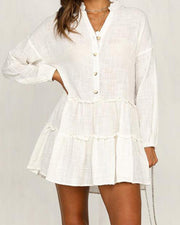 Swimsuit sunscreen vacation beach white long sleeve mini dress