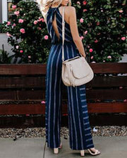 Striped jumpsuit V-neck hanging neck piece trousers female
