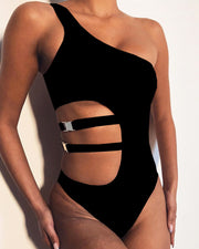 One Shoulder Cut Out One-Piece Swimwear