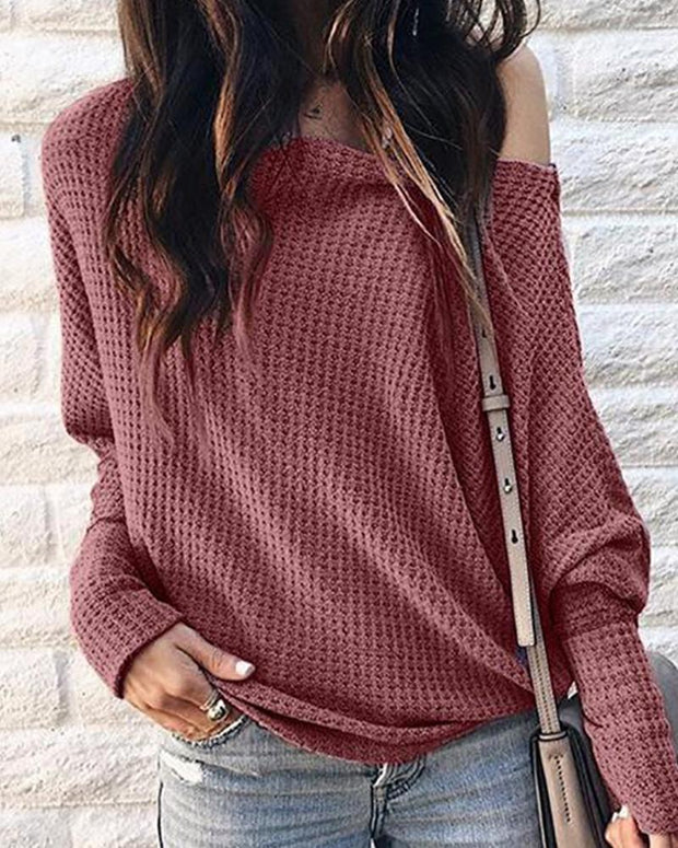 Fall / Winter off Shoulder Casual Hollow Out cotton blends Blouse Top